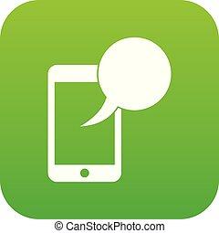 Speech bubble on phone icon digital green