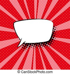 Speech Bubble on Red Retro Background