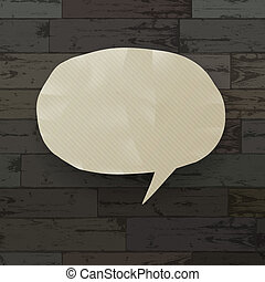 Speech bubble on wooden texture background. Vector illustration, EPS10