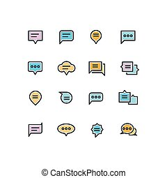 Speech bubble outline color icons for web and mobile application