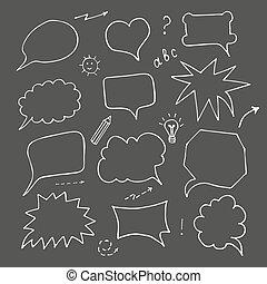 Speech bubble set on black background, doodle