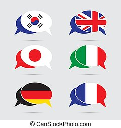 Speech bubble set with flag in vector format