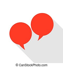 Speech bubble sign. Red icon with flat style shadow path.