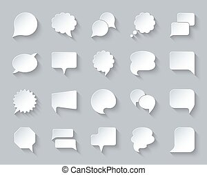 Speech Bubble simple paper cut icons vector set