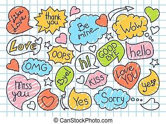 Speech bubble sketch doodle set dialog text vector