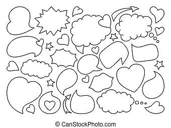 Speech bubble sketch line doodle set dialog vector