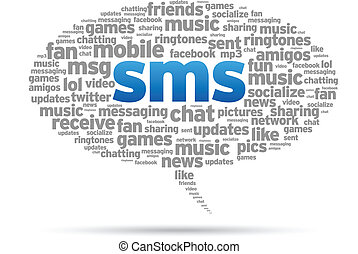 Mobile SMS speech bubble illustration on white background.