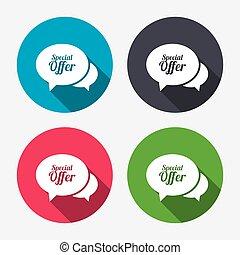 Speech bubble Special offer icon. Sale symbol.