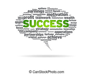 Speech bubble with the word success on white background.