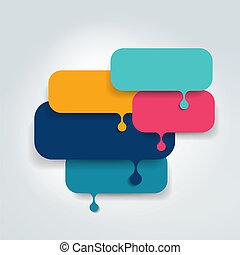 Speech bubble template, scheme. Infographic element. - ...