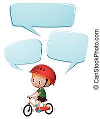 Speech bubble template with boy on bike