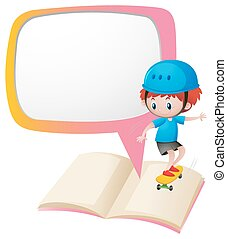 Speech bubble template with boy on skateboard
