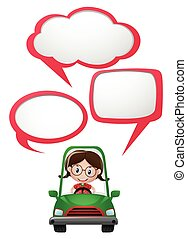 Speech bubble template with girl driving car