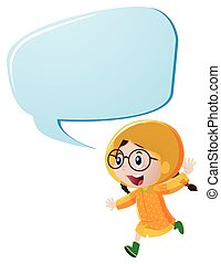 Speech bubble template with girl in yellow raincoat