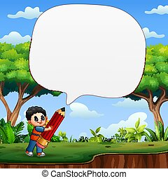 Speech bubble template with kid boy holding big pencil