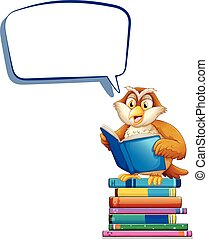 Speech bubble template with owl reading books