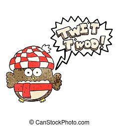 speech bubble textured cartoon cute owl singing twit twoo
