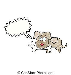 speech bubble textured cartoon dog with bone