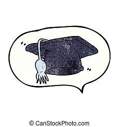 speech bubble textured cartoon graduation cap