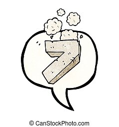 speech bubble textured cartoon stone number seven