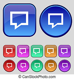 Speech bubble, Think cloud icon sign. A set of twelve vintage buttons for your design.