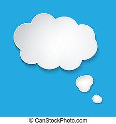 speech bubble - Abstract white paper speech bubble on blue...
