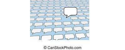 Speech bubble voice talks over social media blue - One...