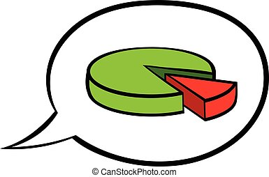 Speech bubble with a pie chart icon cartoon