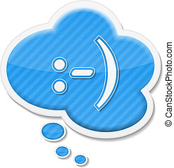 Speech bubble with abstract text smile