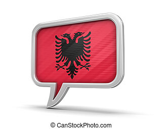 Speech bubble with Albanian flag. Image with clipping path