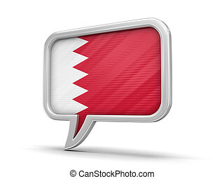Speech bubble with Bahrain flag. Image with clipping path
