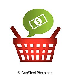 speech bubble with basket shopping commercial icon