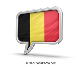 Speech bubble with Belgian flag. Image with clipping path