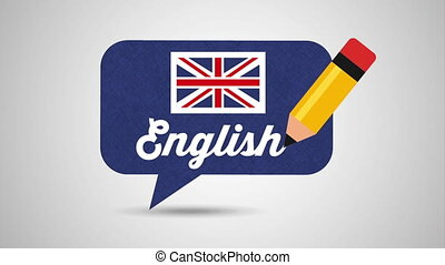 speech bubble with british flag learn english animation -...