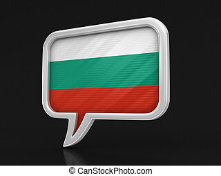 Speech bubble with Bulgarian flag. Image with clipping path
