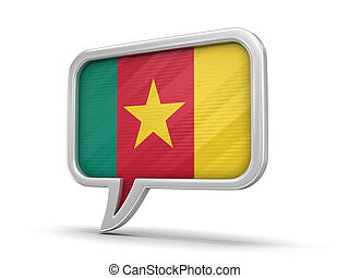 Speech bubble with Cameroon flag. Image with clipping path