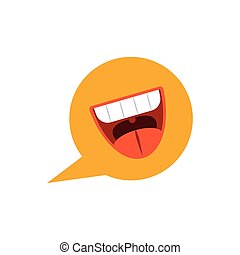 speech bubble with cartoon mouth, flat style icon