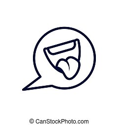 speech bubble with cartoon mouth, line style icon