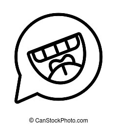 speech bubble with crazy mouth laughing line style icon