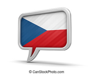 Speech bubble with Czech flag. Image with clipping path