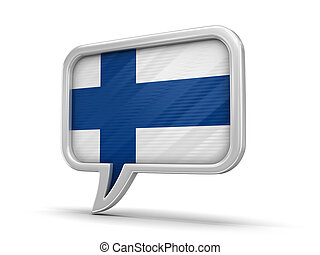 Speech bubble with Finnish flag. Image with clipping path