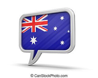 Speech bubble with flag of Australia. Image with clipping path