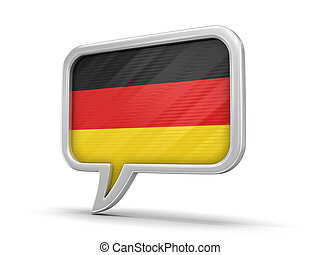 Speech bubble with flag of Germany. Image with clipping path
