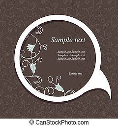 Speech bubble with floral elements