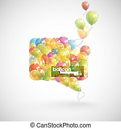 speech bubble with flying balloons
