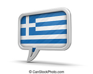 Speech bubble with Greek flag. Image with clipping path