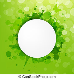Speech Bubble With Green Blots And Bokeh, Vector...