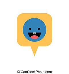 speech bubble with happy face isolated icon