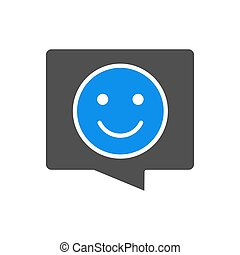 Speech bubble with happy smiley face colored icon. Chat symbol, nice talking, positive feedback symbol