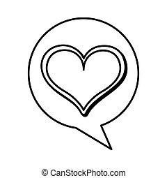 speech bubble with heart